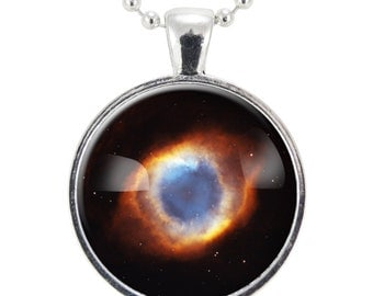Helix Nebula Necklace, Galaxy Jewelry, Universe Pendant (1159S25MMBC)