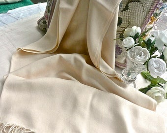Vintage Wrap - Shawl - Beige Neutral - Long and Wide - Fringed -Formal - Light Weight -Travel Accessories -Urban Hipster - Hollywood Regency