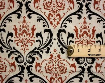 Red White Black Pattern Print Linen Fabric Per Yard
