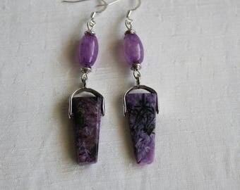 Rare Charoite semi precious stone earrings with agate, handmade, gift, exotic, unique, purple
