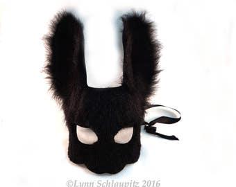 Fur Rabbit Mask! Faux Fur! Leather, Bunny, Animal mask, Fursuit, Costume, LARP, Cosplay, Rabbit costume