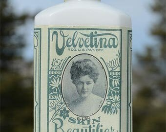 Scarce antique VELVETINA Skin Beautifier antique bottle - late 1800's - pure WHITE colored milk glass - OMAHA Nebraska