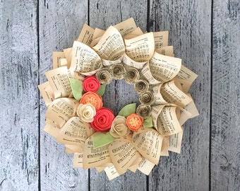 """Spring Wreath, Music Wreath, Hymnal Pages, Felt Wreath, Coral & Peach Felt Flowers with Music Paper Flowers, 15"""""""