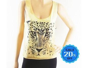Tiger tank top tiger shirt cute tees hipster tank teen girl gift cropped tee tumblr crop top dyed fabrics women crop top screen print size S