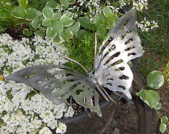 Butterfly Metal Sculpture Welded Yard Art Garden Art Found Objects