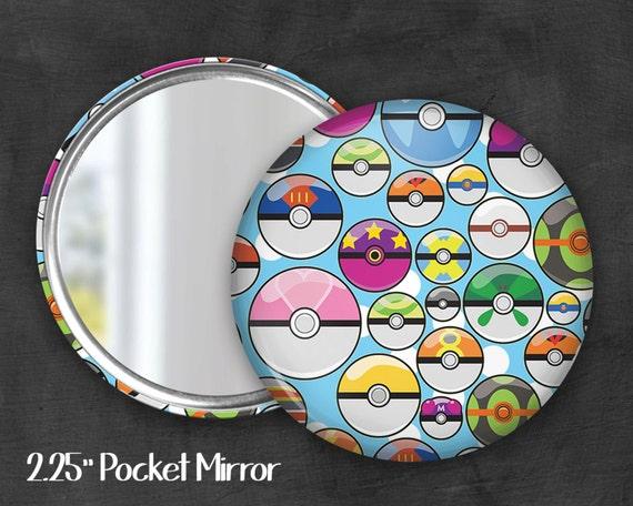"""2.25"""" Pokeball Pocket Mirror, Geek Pocket Mirror, Geekery, Mirror Button,  Kawaii Mirror, Pocket Mirror, Fanart, Fandom"""