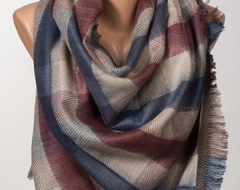 Red and Blue and Beige Blanket Scarf. Winter wrap. Shawl wrap. Christmas women gift. Valentine wrap.