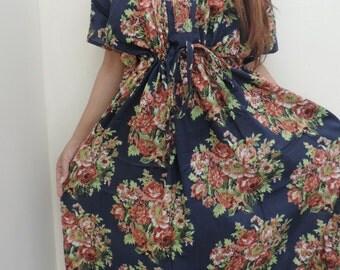 Floral Kaftan , Caftan, Kaftan, Wine Kaftan, Perfect long dress,  For to be Moms, beach cover up, Sleepwear, Best Gift for her