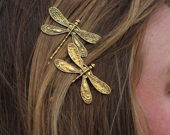 Dragonflies - Golden Dragonfly Bobby Pin Set of Two - Insect Bobby Pins