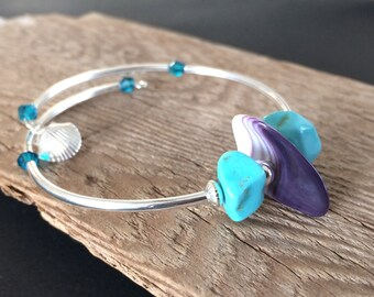 wampum bracelet, Magnesite boho meditation bracelet, wampum jewelry, Cape Cod Bracelet, Native American bracelet gift