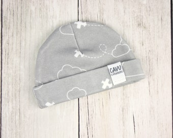 Organic Baby Hat with Airplanes + Clouds in Gray and White - Organic Cotton Baby Beanie - Designer Organic Fabric - READY TO SHIP!