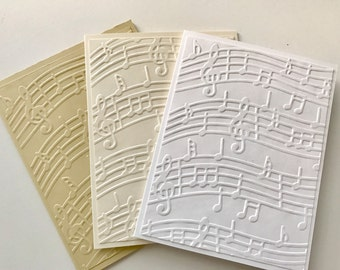 Music Note Greeting Cards, Greeting Cards Set, Embossed Cards, Note Cards Set, Blank Cards, Note Card Set, White Cards, Music Notes