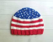 Knit Baby Hat, Patriotic Hat, Fourth of July, Red White and Blue, Baby Showe, Baby Flag Hat, Cotton Baby Hat, independence day, memorial day