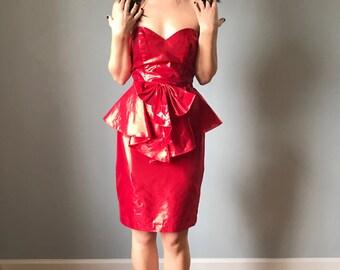 Vintage 80s Red Peplum Metallic Foil Va Va Voom Dress