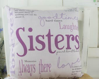 Sisters Gift Cushion Pillow in Pink. Word Pillow. Perfect for a long distance sister or a special birthday gift.