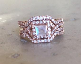 Deco Moonstone Engagement Ring Set- Moonstone Engagement Ring Rose Gold- 14k Engagement Edwardian Bridal Set Wedding Rainbow Moonstone Ring