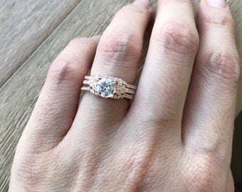 Art Deco Wedding Ring Set- Bridal Sets for her- Rose Gold Engagement Ring- Diamond Simulant with 2 Matching Half Eternity Band for Her