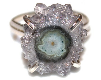 Mini Purple Amethyst Ring Stalactite Ring Silver Ring Adjustable Druzy Ring Stalactite Jewelry Lavender Amethyst Jewelry Druzy Jewelry Drusy
