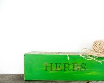 Herb Box - Garden Box - Bright Green - Pop of Colour - Spring Decor - Gift for Gardener