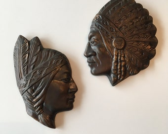 Vintage Indian Head Wall Plaques - Pair - Chalkware Busts - Wall Decor