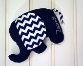 Customized baby elephant with custom name embroidered, modern nursery decor, pillow for baby, chevron and navy