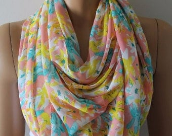 Christmas Gift Holiday Gift Scarf, New Chiffon Scarf Dreamy Scarf Blue Yellow Pink Summer Scarf