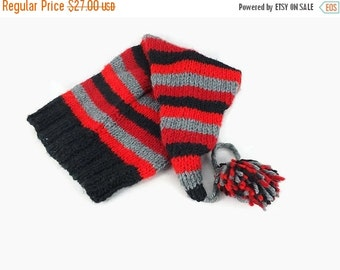 Gift For Mom Hand knit black gray red striped stocking cap winter slouchy beanie womens long tail hat with pompom