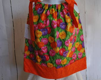 Girls' Pillowcase Dress - Field of Tulips