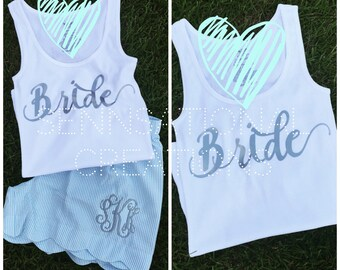 Bridal Set, Gift for the Bride, Bride Tank, Bride Shorts, Monogrammed Bride, Bridal Party