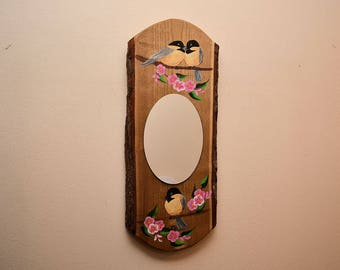 Log Mirror with Chickadees and Pink Cherry Blossoms, Rustic handpainted wood slice mirror