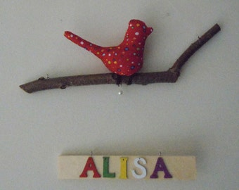 Bird Hanging Mobile with Wood Name, Bird on NatIural Manzanita Tree branch with wood Name, Wall Art.Kids Wood Name, Mixed Color Letters