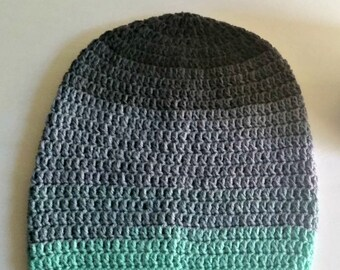 Grey Gray Green Ombre Slouch - Crochet Slouchy Beanie - Womens Slouchy Hat - Hipster Hat