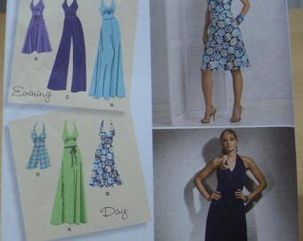 Free shipping! Simplicity 2401 Halter top dress and jumpsuit sewing pattern 6 thru 14 UNCUT