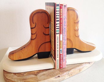 Vintage Cowboy Boot Bookends Southwest Rodeo Western Decor