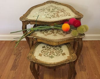 FLORENTINE SHIELD NESTING Tables, Set of Three, Gold Gilt Nesting Tables, Italian Florentine Nesting Tables at Ageless Alchemy