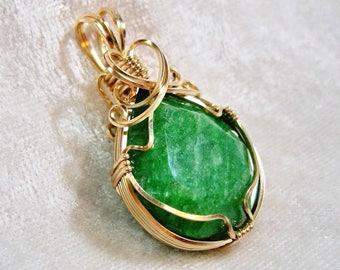 25x22 Brazilian Emerald Pendant, Teardrop Pendant, Emerald Pear Pendant Wire Wrapped 14K Gold-filled (14/20) Sq. Wire
