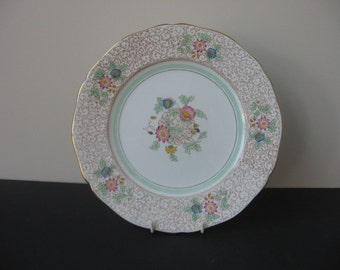 "Vtg ADDERLEY Bone China England ""VIRGINIA"" Brown Scrolls 4 Dinner Plates Set"