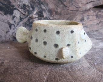 Puffer , blowfish ,Plant Pot, Ceramic handmade