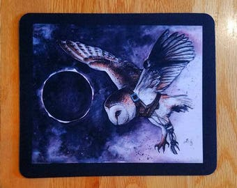 SALE! Mousepad - Strigene Eclipse, Watercolour Steampunk Owl Bird