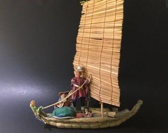 Vintage Boat Souvenir Folk Art Handmade