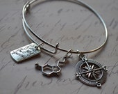 Biolojewelry -  Neurotransmitter Serotonin Molecule Joy in Journey Compass Bangle Bracelet