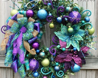 Jewel Tone Christmas Wreath, READY TO SHIP, teal, peacock, Purple, lime, turquoise, blue, Peacock Christmas Wreath. Large door Wreath