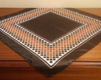 1970's Mid-Mod Geometric Print Scarf -  Colors; brown, orange, amber and white - VG Condition