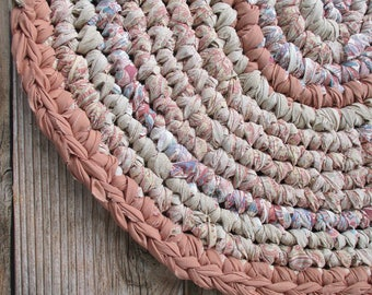Oval Rug for Kitchen - Primitive Decor - Terra Cotta - Bathroom - Machine Washable - Interior Design - Recycle Upcycle - Repurposed - Cotton