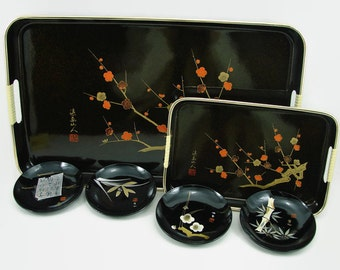 2 Copper Brown Metallic Lacquer Trays & 4 Black Lacquer Bowls, Vintage Lacquerware Made in Japan