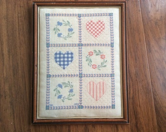 Vintage counted cross stitch hearts and wreaths