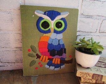 Retro Owl Embroidered Vintage Kitsch Wall Decor