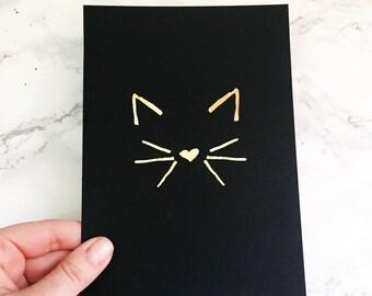 cat foil print - cat art print - cat art - cat pet portrait - cat illustration - cat lady art print - cat lady art - kitten art print