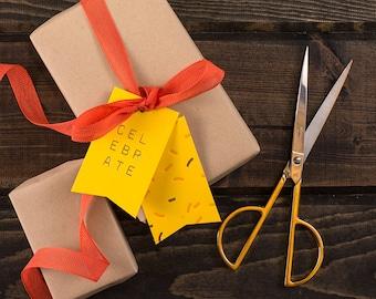 Celebrate With Sprinkles, Lemon : Set of 6 Letterpress + Foil Gift Tags