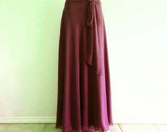 Wine Bridesmaid Skirt. Long Evening Skirt. Wine Maxi Skirt. Chiffon Floor Length Skirt.